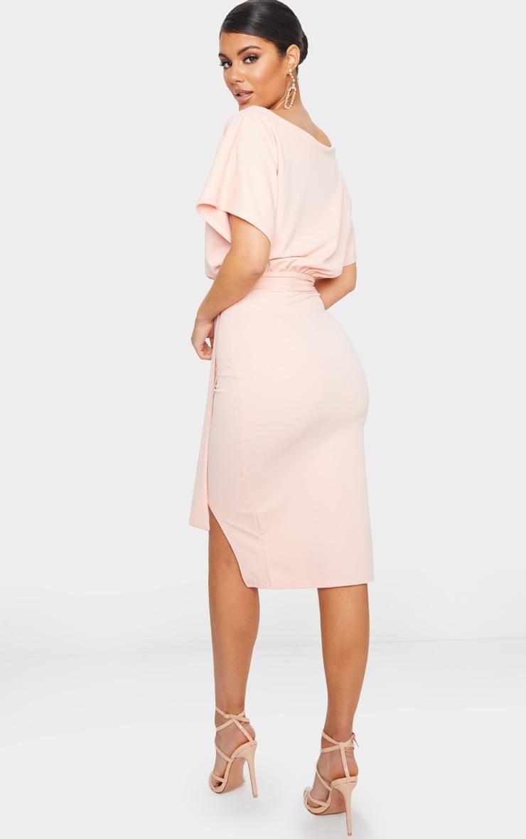 Nude Wrap Front Kimono Sleeve Midi Dress 2