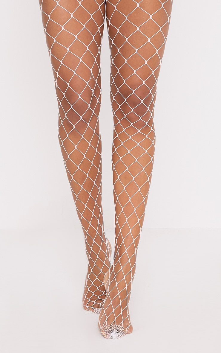 Inari White Large Fishnet Tights 1