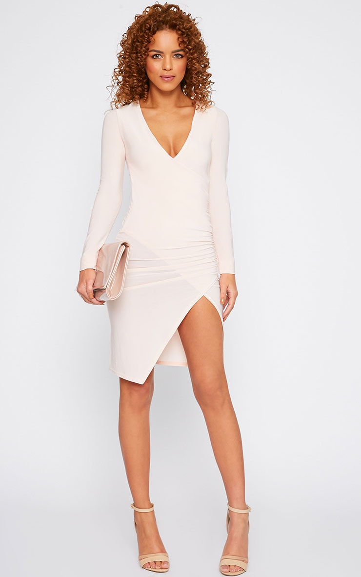 Iona Nude Slinky Wrap Over Gathered Mini Dress 4