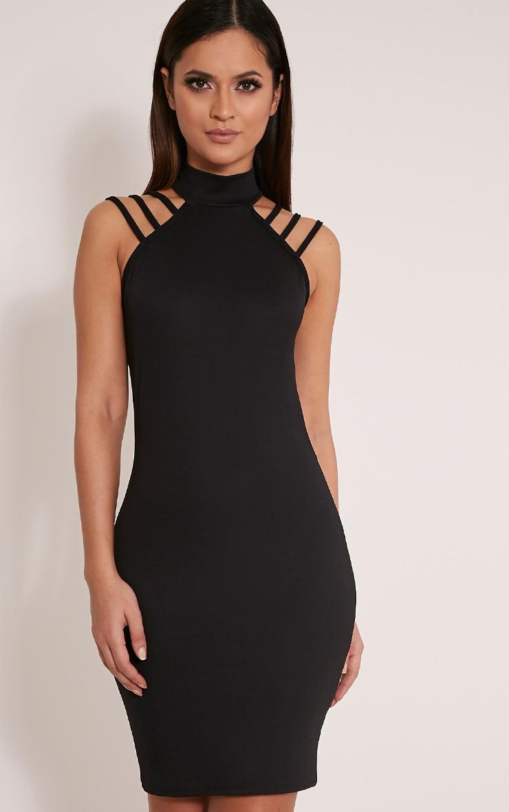 Joslyn Black High Neck Strap Detail Bodycon Dress 1