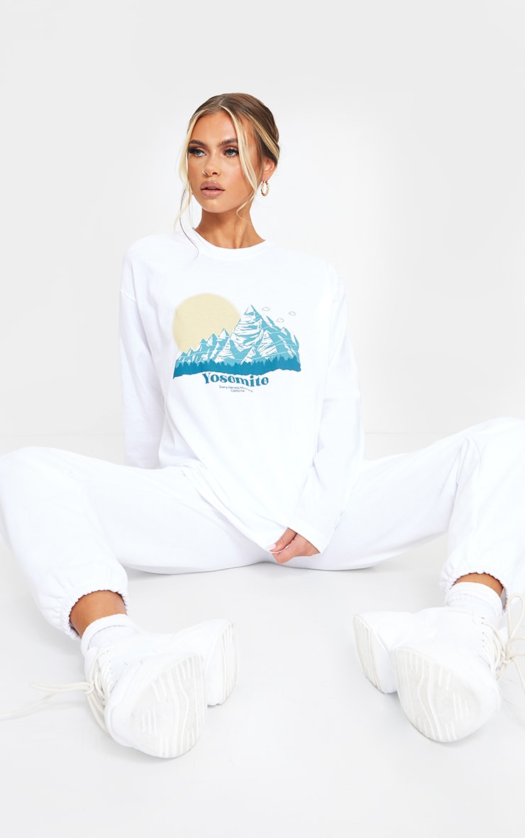 White Yosemite Printed Oversized Long Sleeve T Shirt 3
