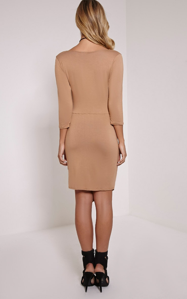 Keevy Camel Jersey Wrap Mini Dress 2