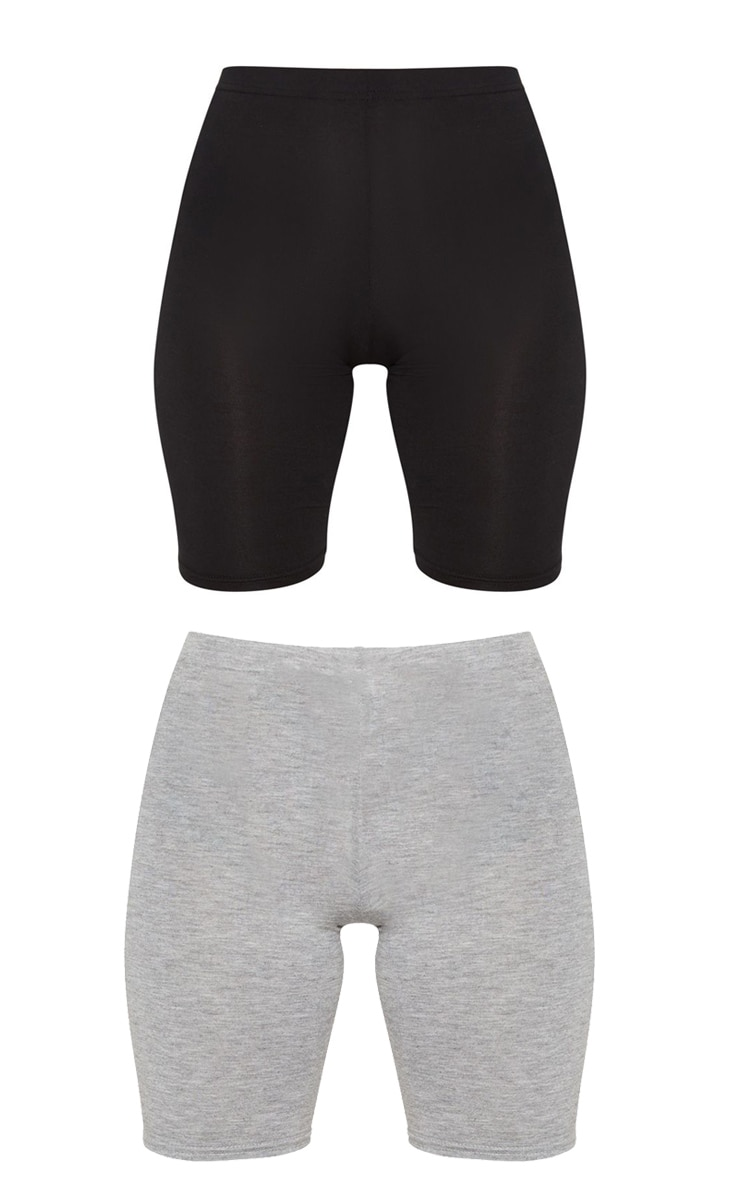 Petite Black and Grey Basic Cycle Short 2 Pack 6