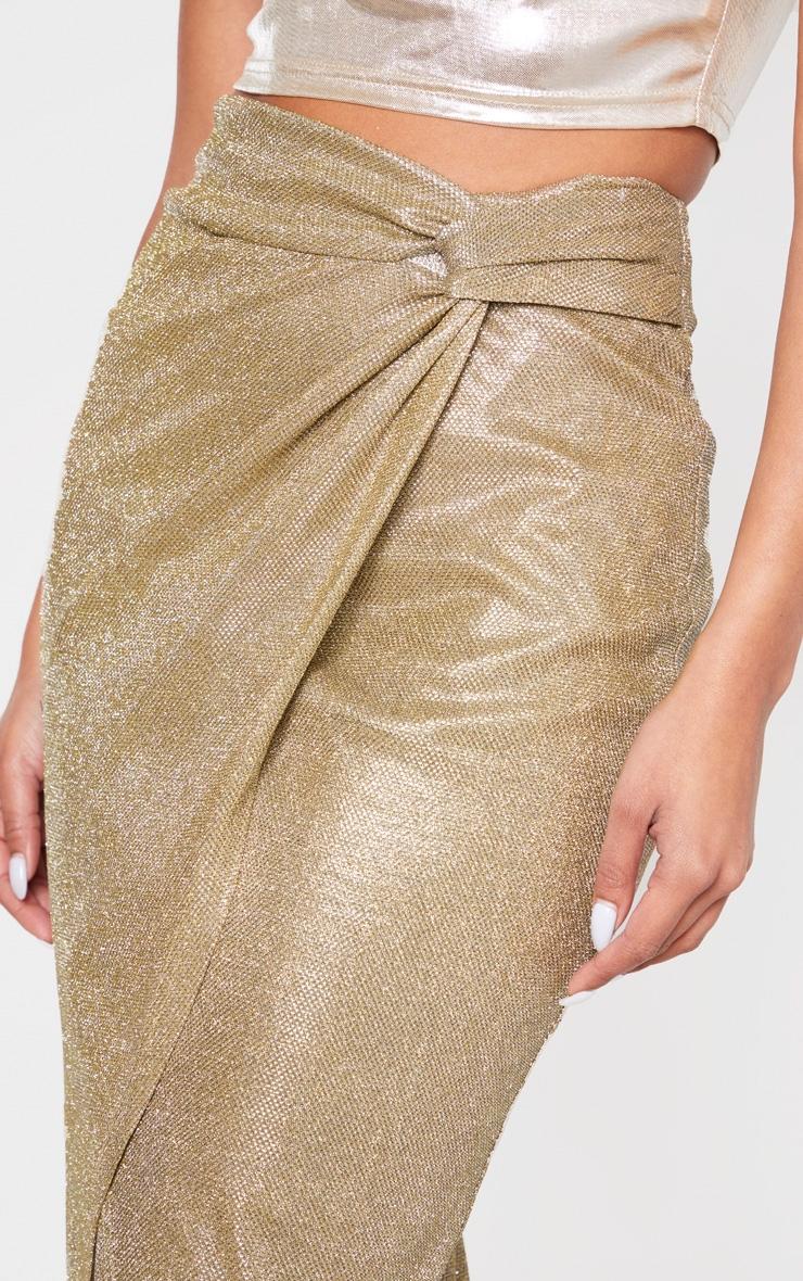 Gold Glitter Knot Front Midi Skirt 5