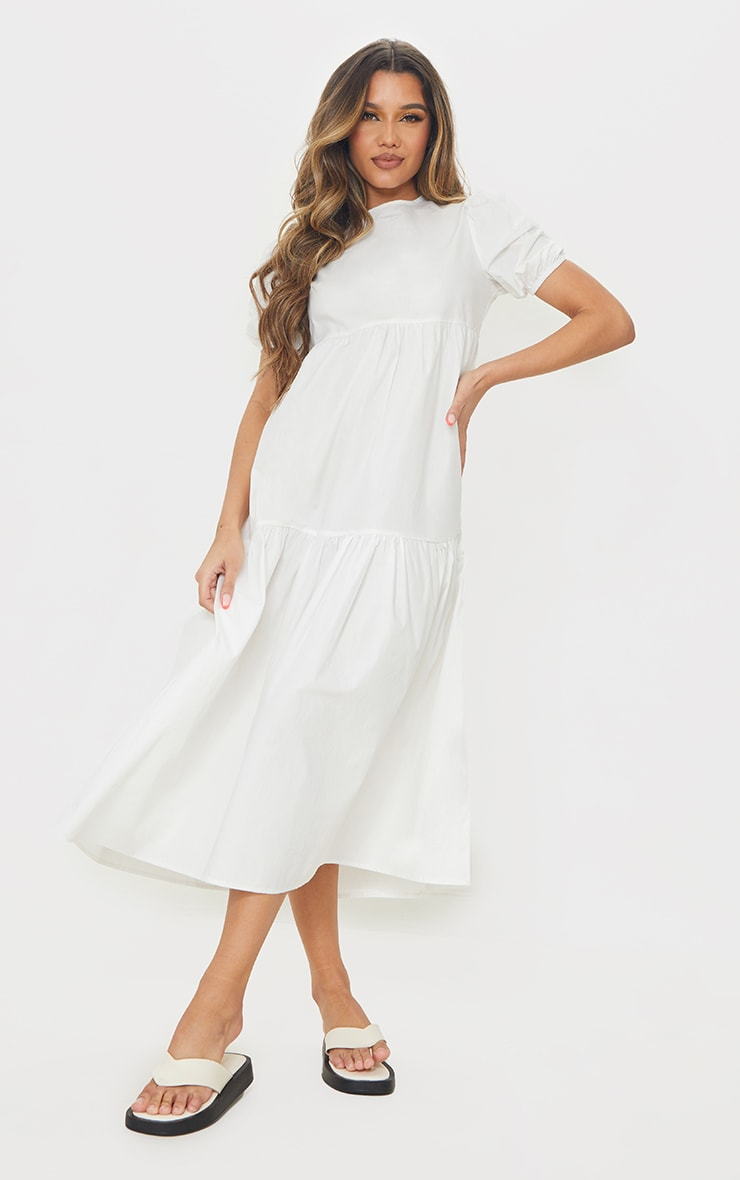 White Cotton Tiered Drop Hem Short Sleeve Midi Smock Dress 1