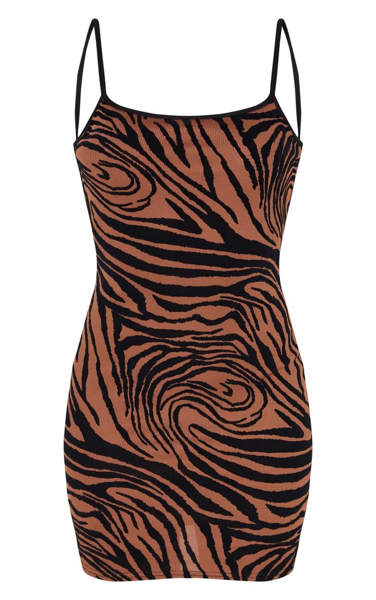 Brown Zebra Print Flocked Strappy Bodycon Dress 3
