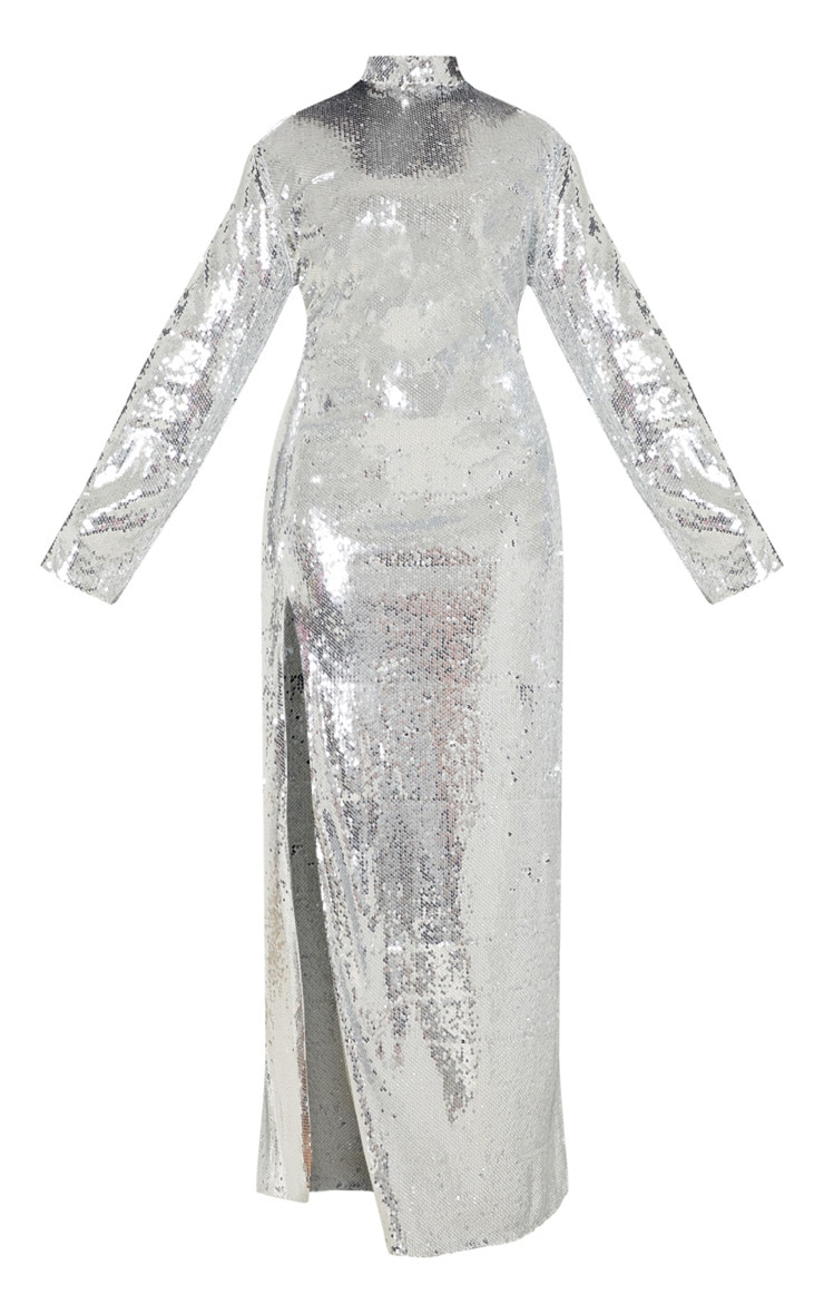 Plus Silver Sequin Backless Maxi Dress 3