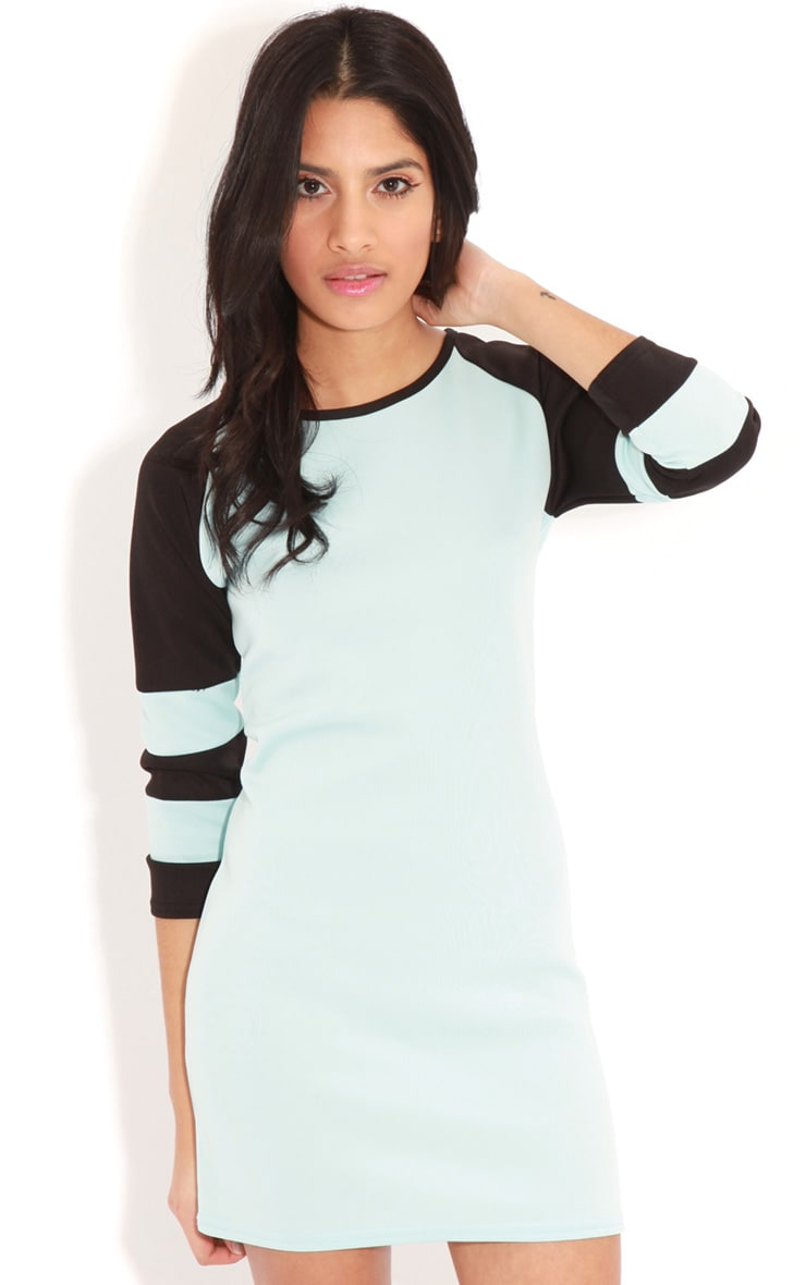 Jolyn Baby Blue Stripe Scuba Dress 1