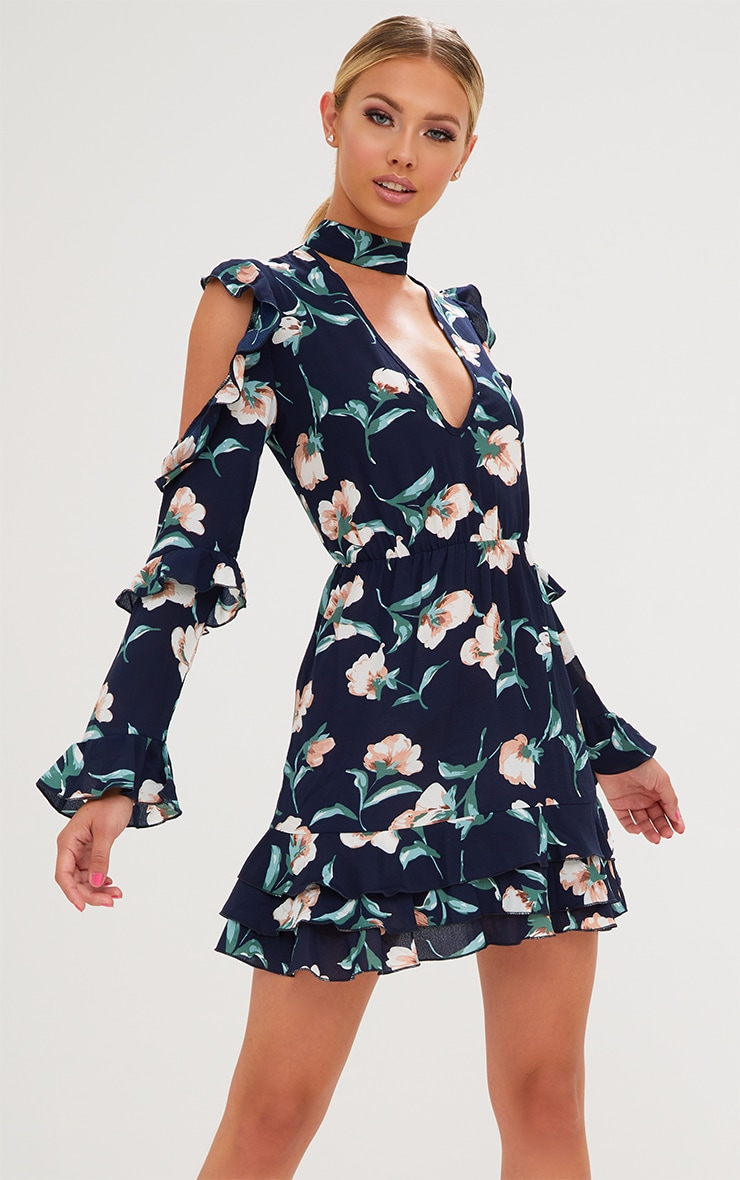 Navy Floral Choker Detail Bodycon Dress 1