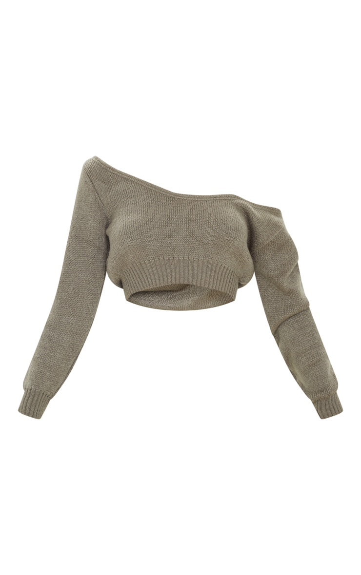 Khaki V Neck Off Shoulder Soft Knitted Crop Jumper 3