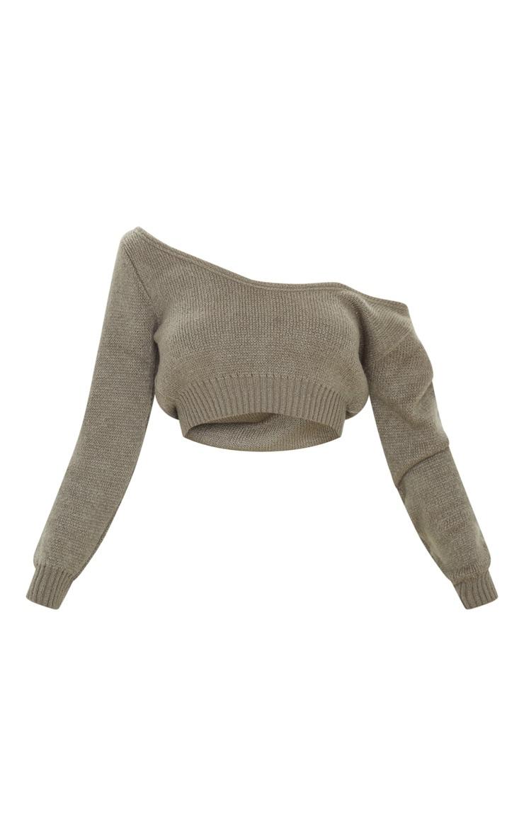 Khaki V Neck Off Shoulder Soft Knitted Crop Sweater 3