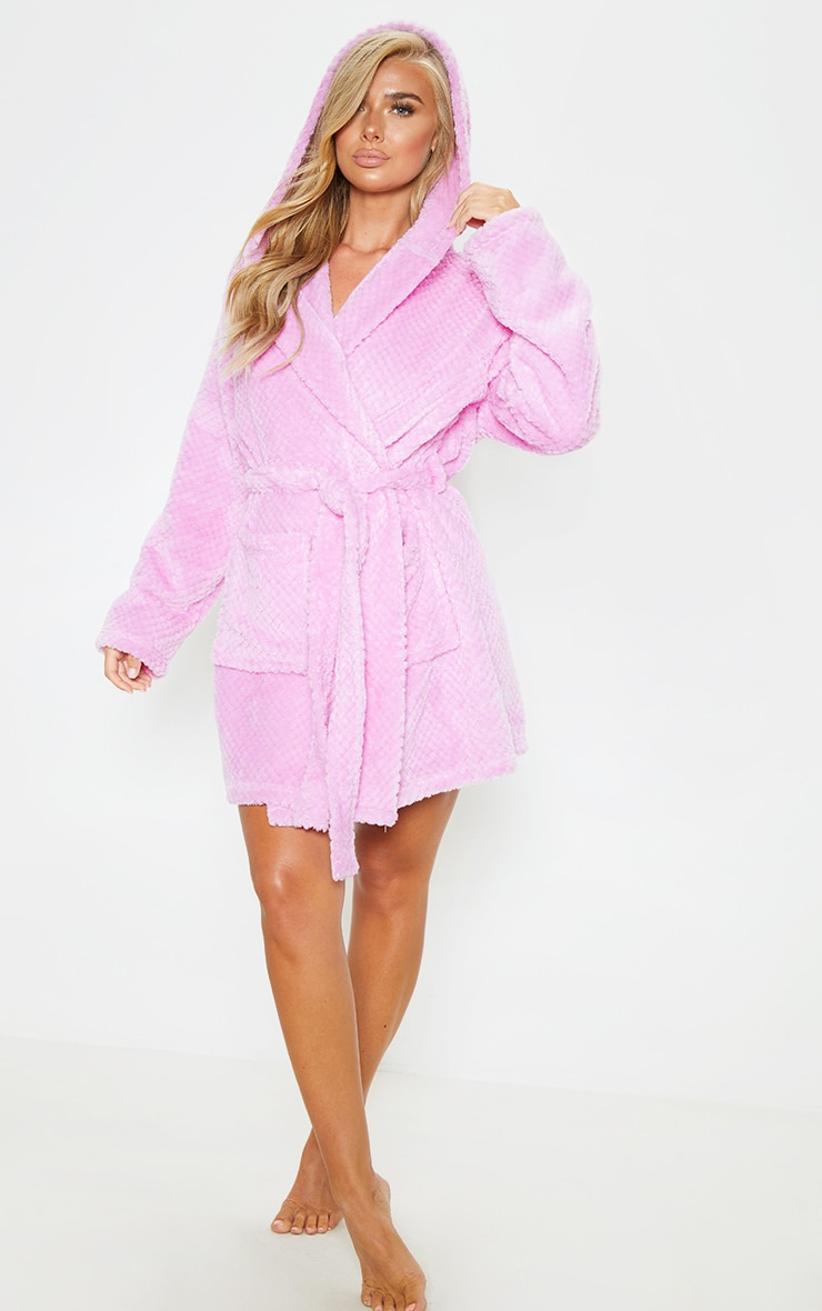 PRETTYLITTLETHING Lilac Textured Fluffy Dressing Gown 4