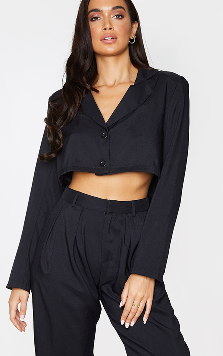 Black Button Front Cropped Blazer 1
