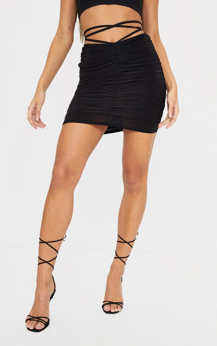 Black Slinky Tie Waist Mini Skirt 2