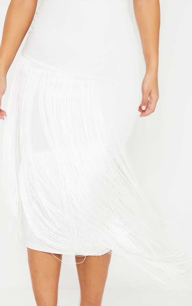 White Fringe Detail Tiered Midaxi Skirt 5
