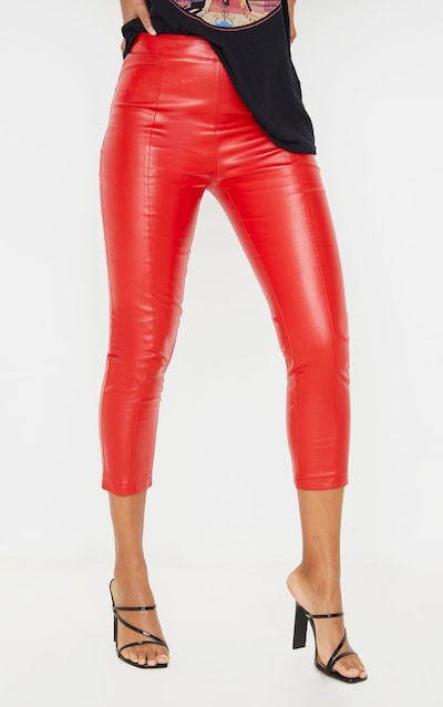 Red Cropped Faux Leather Trousers