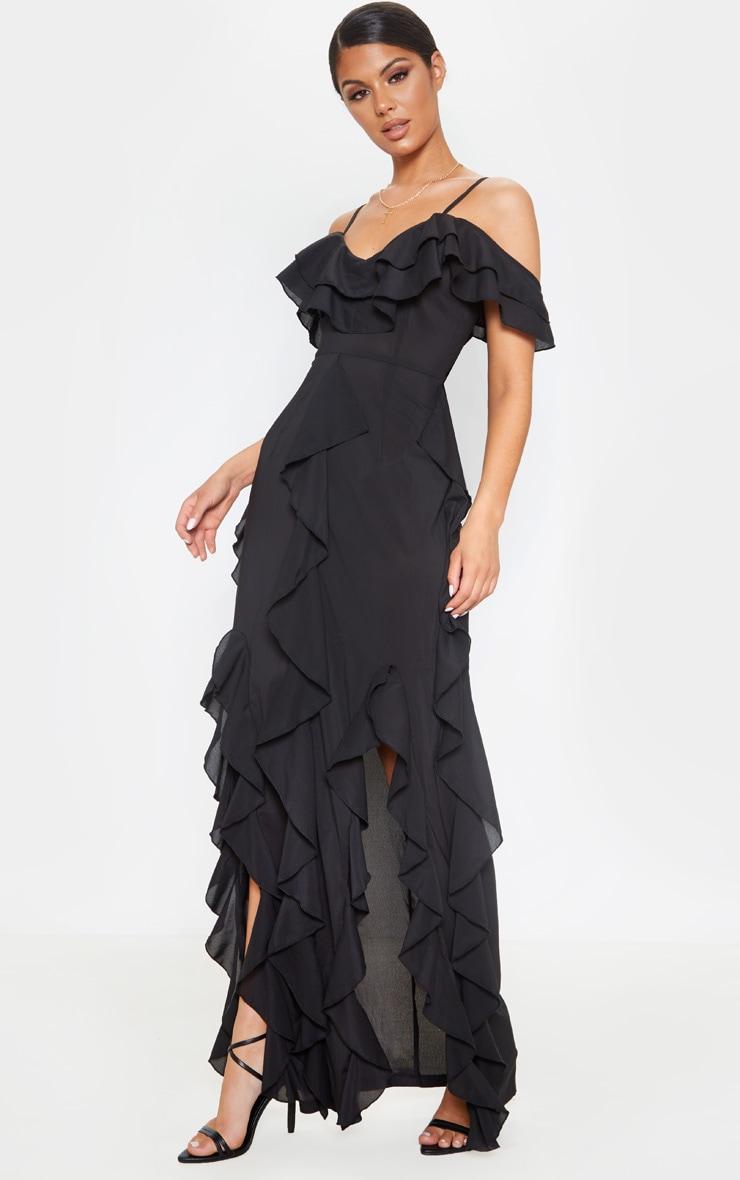 Black Cold Shoulder Ruffle Detail Maxi Dress 4