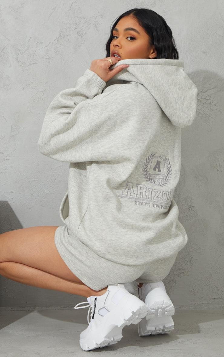 Grey Marl Arizona Embroidered Extreme Oversized Zip Through Hoodie 1