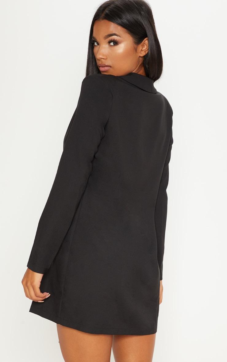 Black Asymmetric Hem Oversized Blazer Dress 2