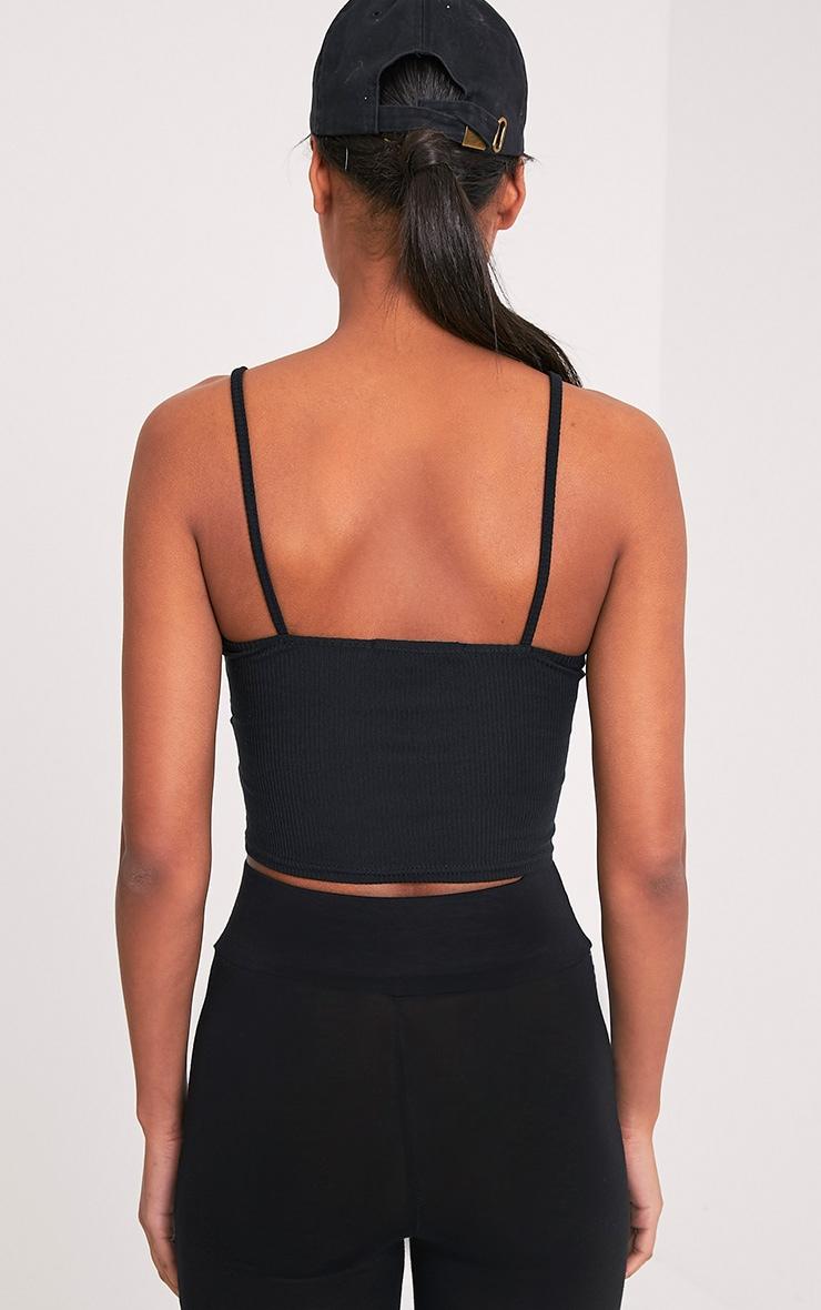 Basic Black Strap V Neck Vest 2