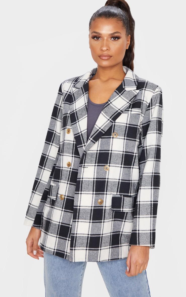 Mono Check Print Oversized Woven Blazer 4