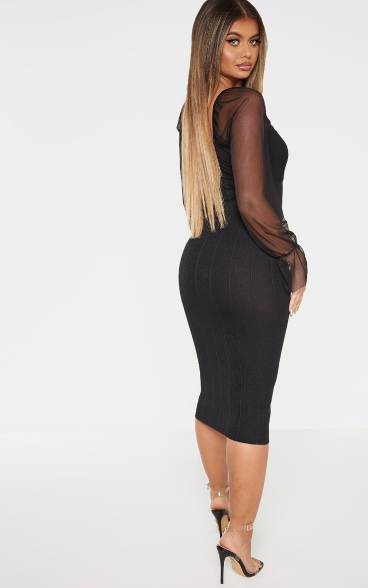 Black Hook and Eye Mesh Sleeve Midi Dress 2