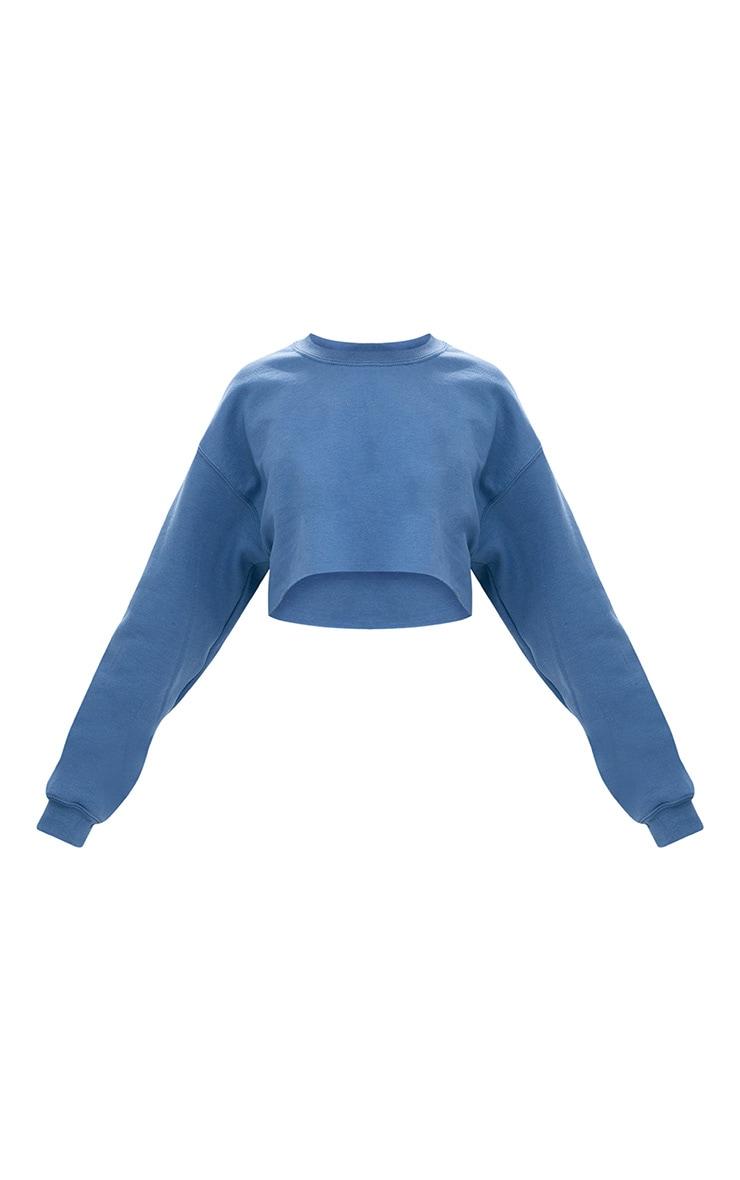 Recycled Dusty Blue Crop Oversized Sweatshirt 5