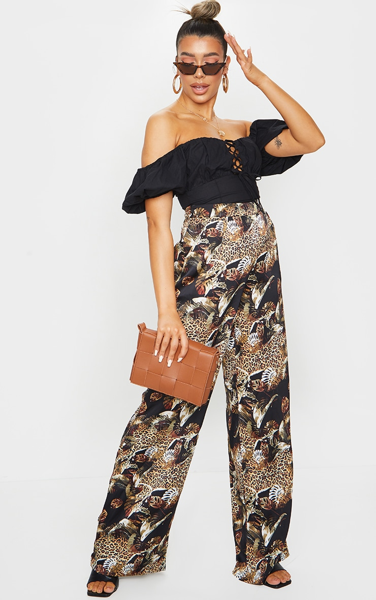 Multi Leopard Print Satin Wide Leg Pants 1
