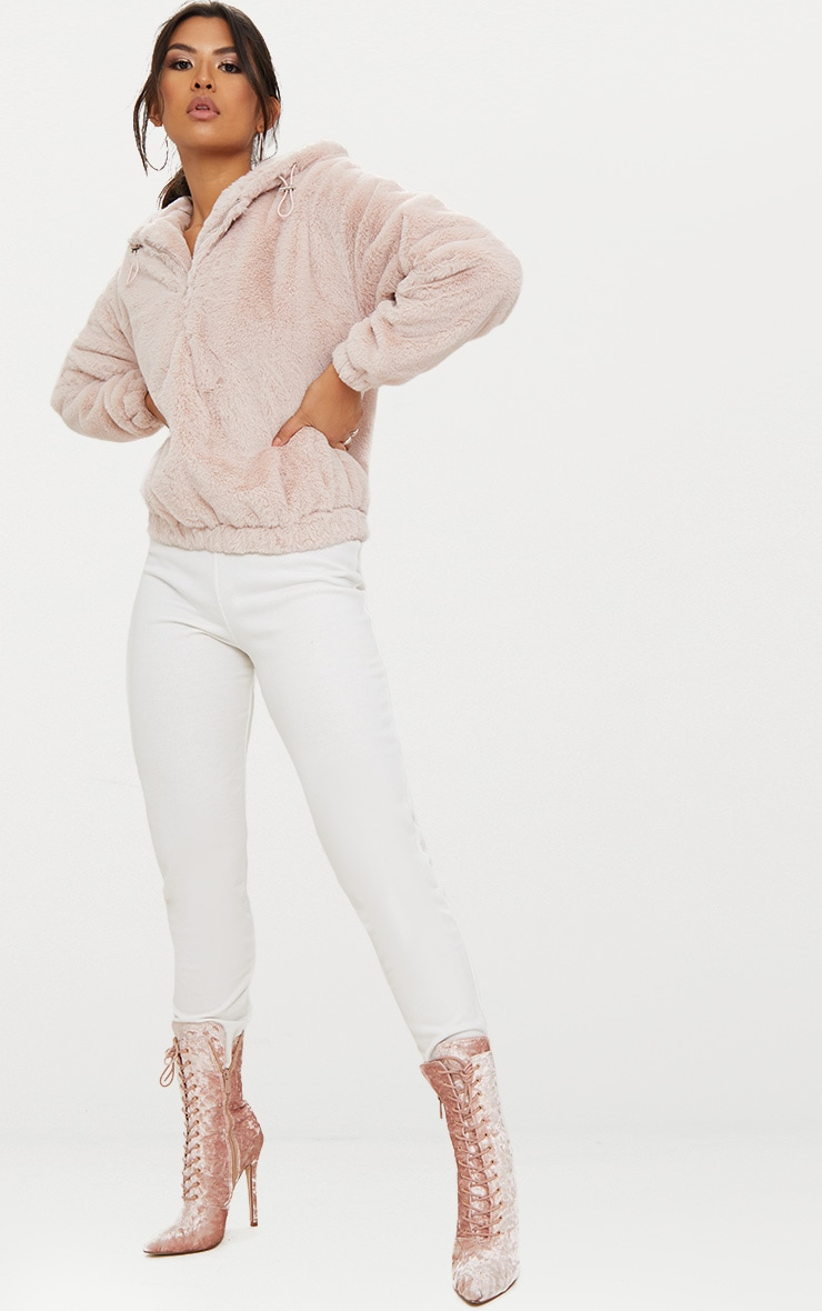 Pink Faux Fur Hooded Bomber 4