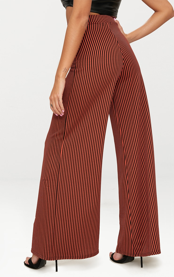 Rust Ribbed Pinstripe Wide Leg Trousers 4