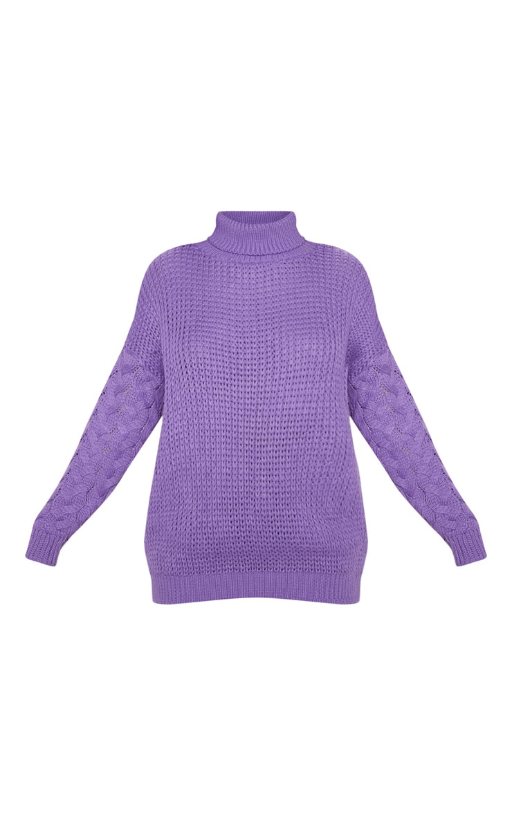 Violet Chunky Knitted Cable Sleeve Jumper  3