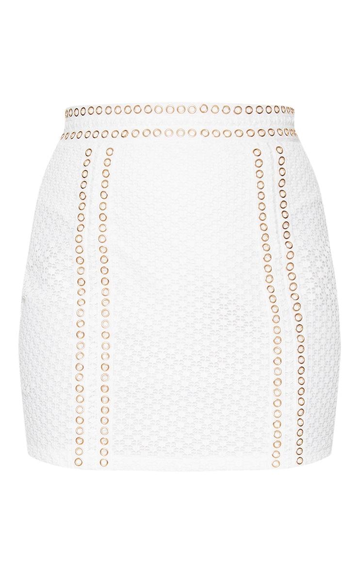 White Eyelet Detail Crochet Mini Skirt 3