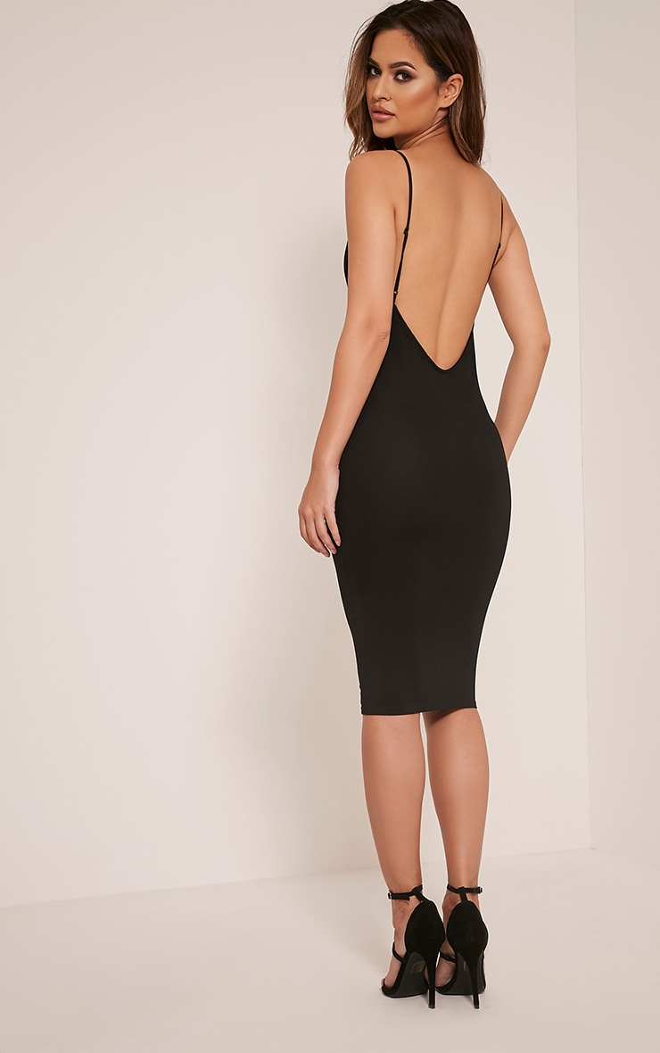 Ada Black V Back Crepe Midi Dress 4