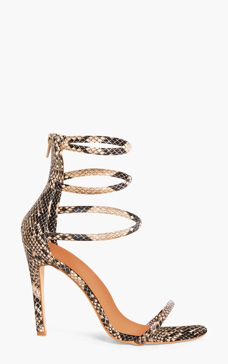 Nadine Nude Snake Print Strappy Heeled Sandals 3