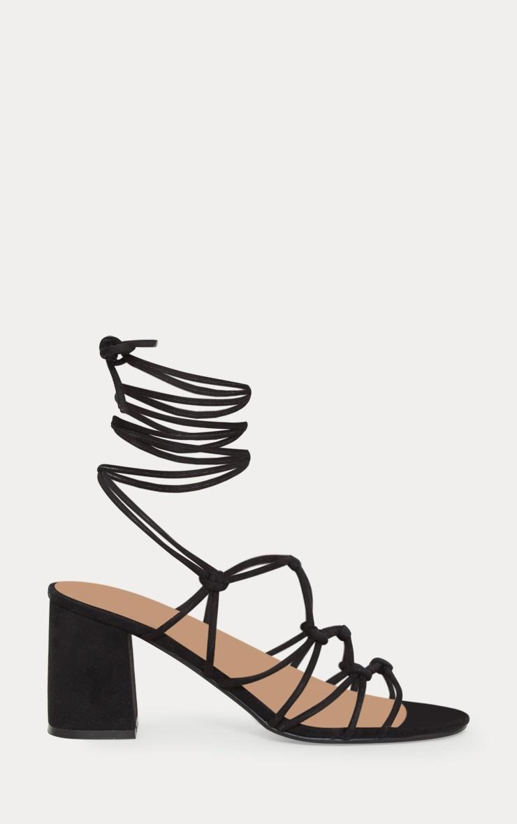 Black Block Heel Leg Tie Sandal 3