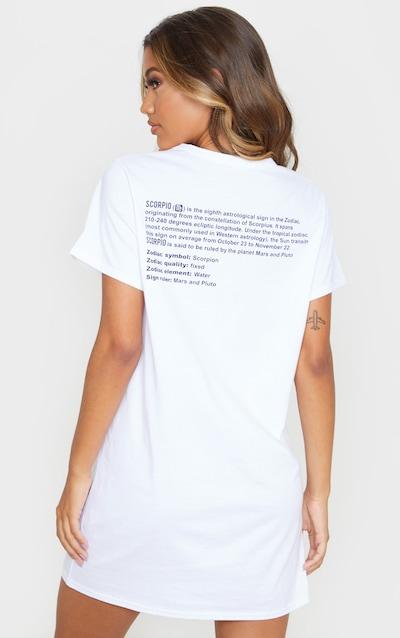 White Scorpio Definition Slogan T Shirt Dress