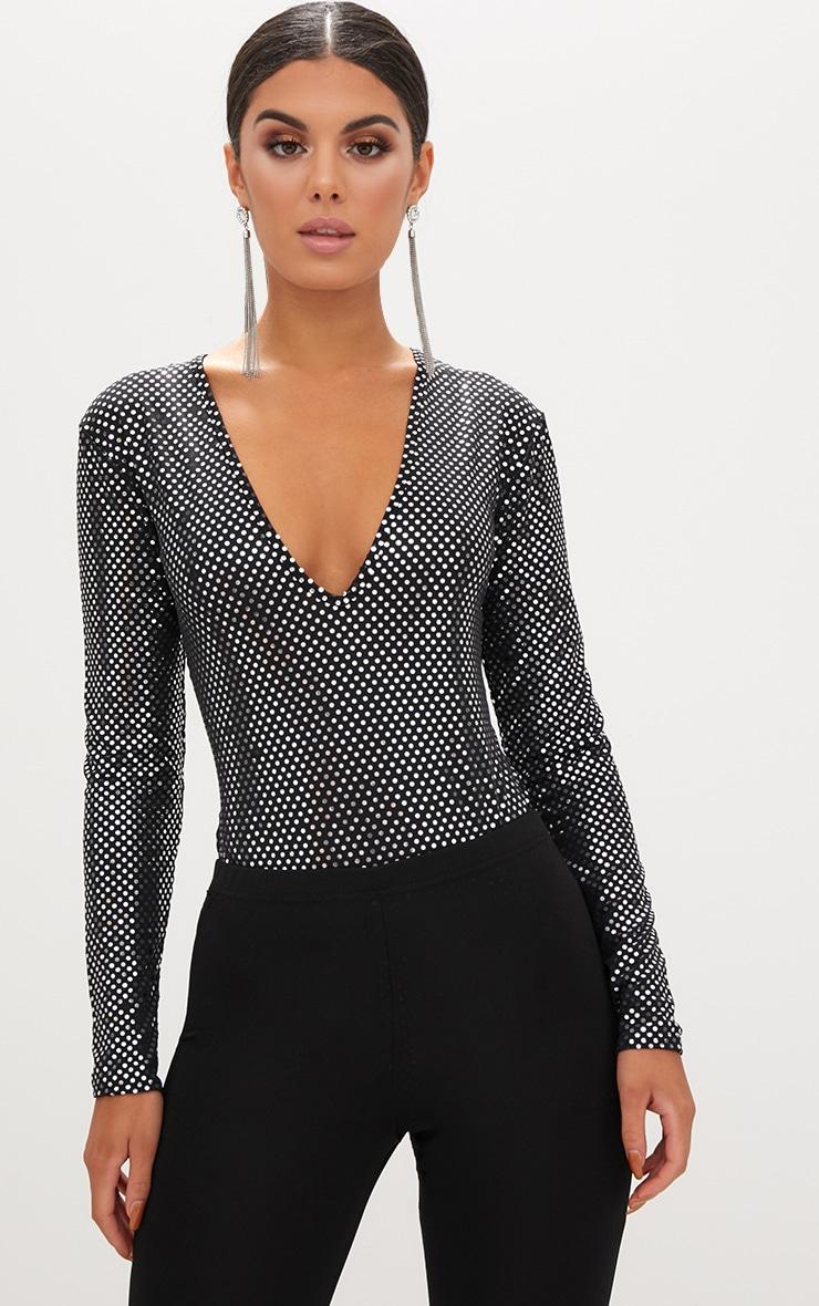 Black Disco Sparkle V Neck Thong Bodysuit 1