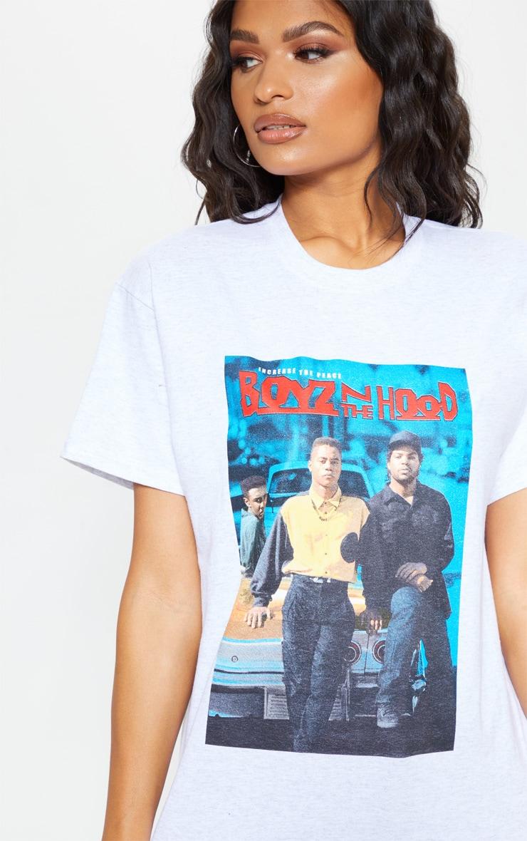 T-shirt gris oversize à imprimé Boyz n the Hood 4