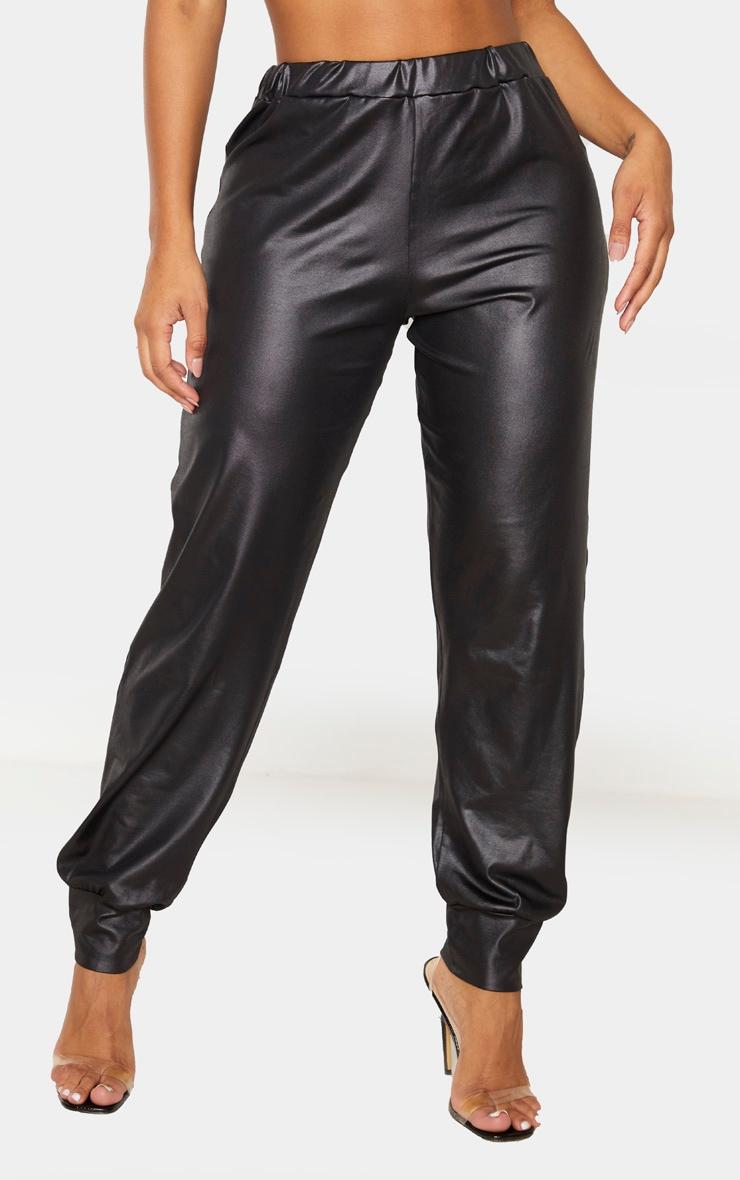 Shape - Pantalon noir enduit à bas resserré 2