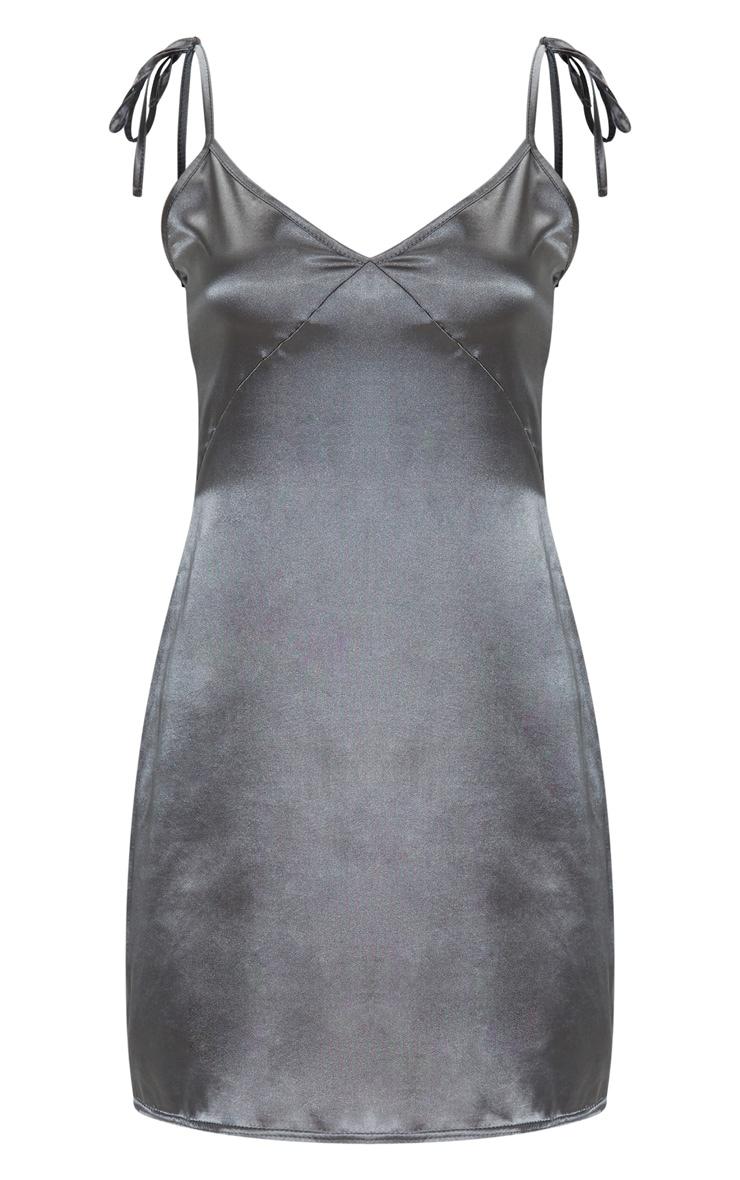 Charcoal Satin V Neck Shift Dress  3