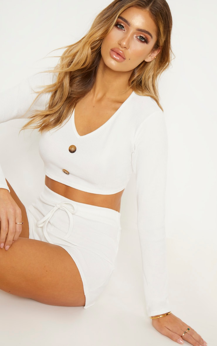 Cream Rib Button Detail Crop Top 2