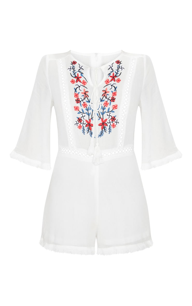 White Embroidered Tassel Playsuit 3