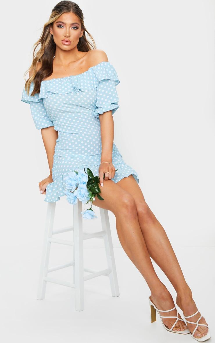 Dusty Blue Polka Dot Shirred Side Bardot Bodycon Dress 3