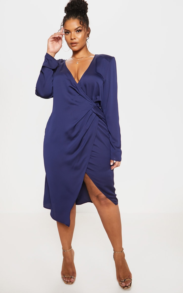 Navy Drape Pleated Detail Midi Dress