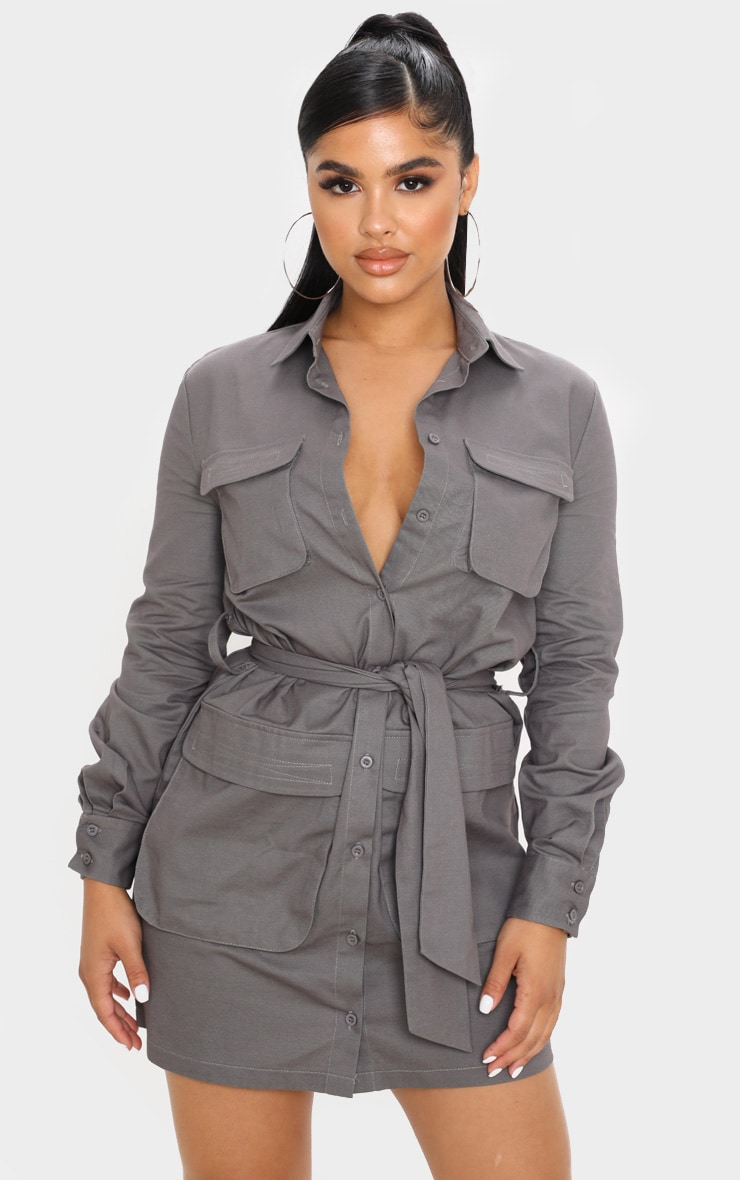 Petite Charcoal Utility Tie Waist Shirt Dress  1
