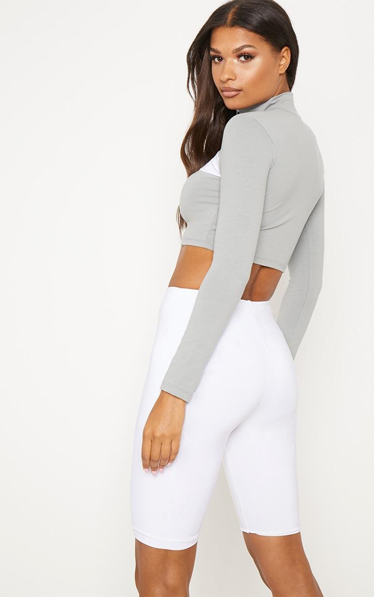 Grey Contrast Zip Front High Neck Long Sleeve Crop Top 2