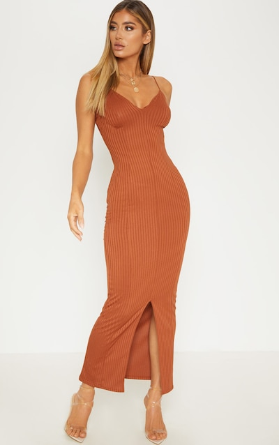 Rust Strappy Plunge Ribbed Midaxi Dress