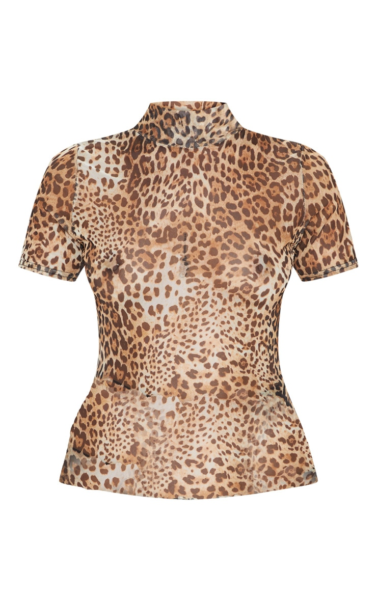 Petite Mesh Leopard Print Top 3