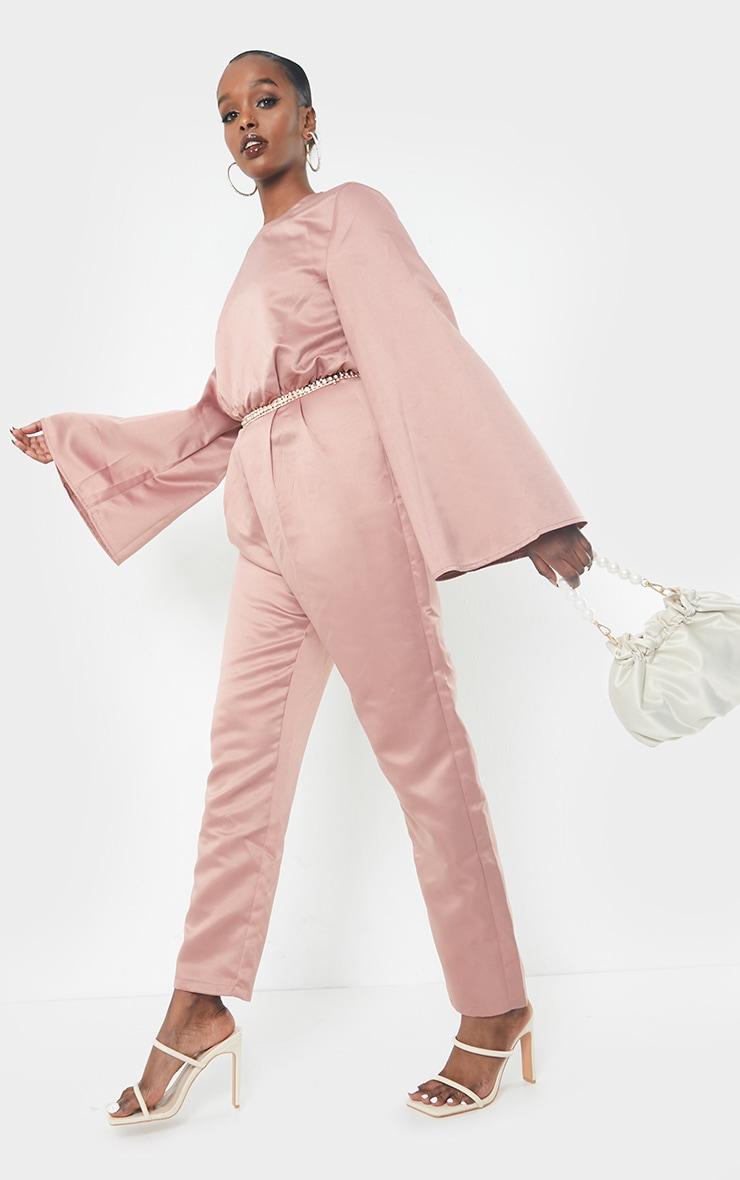Blush Satin Flare Sleeve Wide Leg Jumpsuit 3