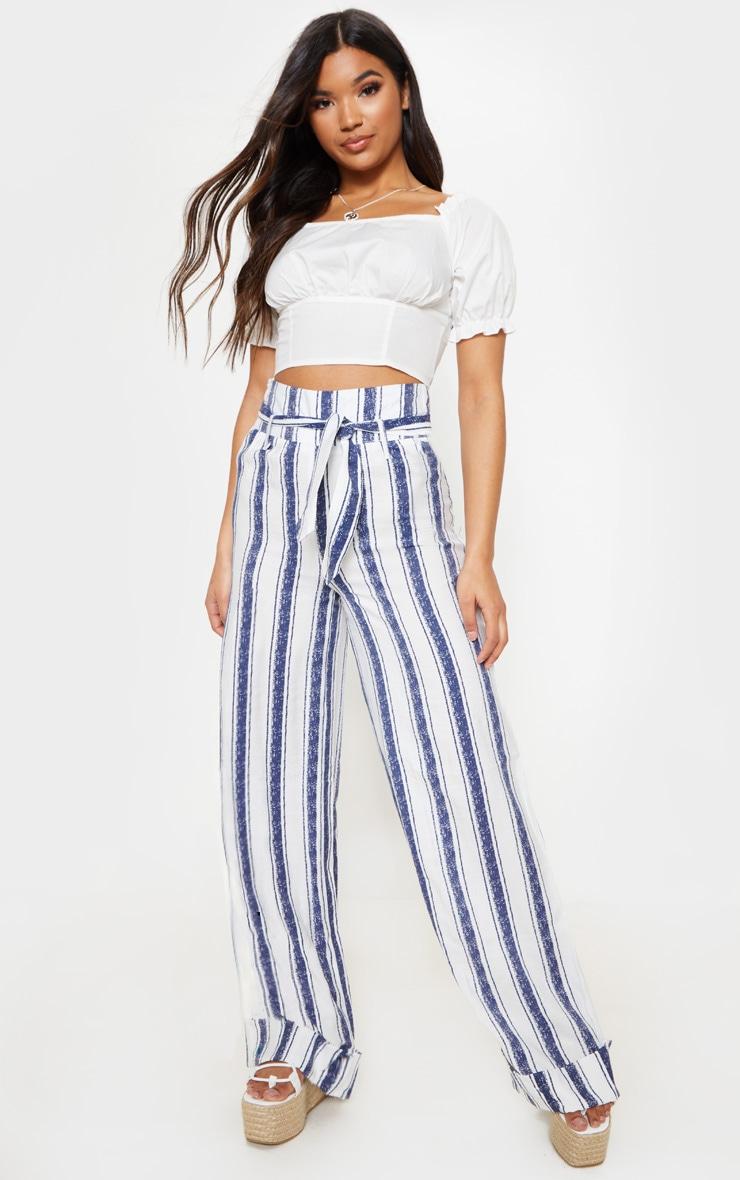 Navy Stripe Belt Waist Wide Leg Pants 1